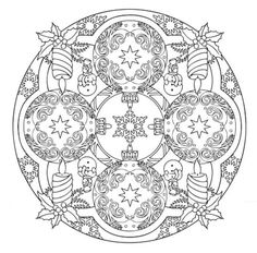 Mandala 608, Christmas Designs 3D Coloring Book, Dover Publications
