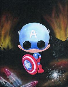 Captain http://www.ebay.com/itm/SUGAR-FUELED-LOWBROW-CAPTAIN-AMERICA-CREEPY-CUTE-BIG-EYE-ART-PRINT-/110998756067?pt=Art_Prints=item19d80a9ae3