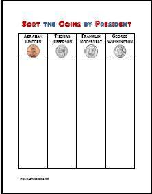 presidents 39 day coin sort graph activity free printable worksheet worksheets. Black Bedroom Furniture Sets. Home Design Ideas