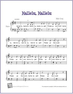Hallelu, Hallelu (Bible Song) | Free Sheet Music  for Easy Piano - http://www.makingmusicfun.net/htm/f_printit_free_printable_sheet_music/hallelu-hallelu-piano.htm