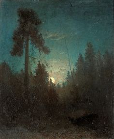 moss-persimmon-aubergine:    Carl Fredrik Hill  Tall pine and rising moon  (via catonhottinroof)