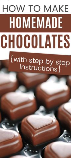 Learn how to make your own chocolate candy with these step by step instructions. You'll find directions for plain chocolates as well as how to make chocolates with a peanut butter filling. Perfect for a Valentine's Day gift or as a holiday treat. Chocolate Candy Recipes, Chocolate Candy Molds, Chocolate Bomb, Chocolate Filling, Melting Chocolate, Chocolate Caramels, Homemade Candies, Homemade Chocolates, Homemade Candy Recipes