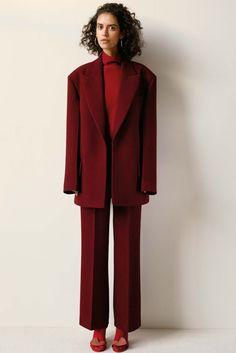 red, burgundy, suit, monochrome, high fashion