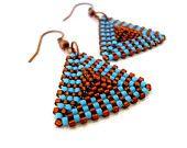Beadwoven Triangle Earrings in Turqoise and Brown, Peyote Earrings, Triangle Jewelry