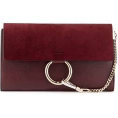 Chloe Faye Leather & Suede Clutch Bag (€820) ❤ liked on Polyvore featuring bags, handbags, clutches, bolsas, purses, dark purple, leather purses, red hand bags, red handbags and hand bags
