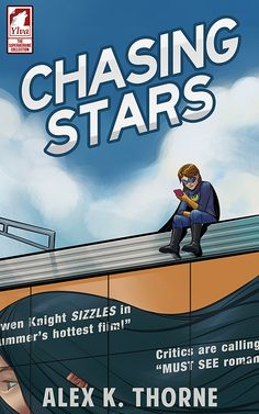 """""""Chasing Stars"""" by Alex K. Thorne / For superhero Swiftwing, crime fighting isn't her biggest battle. Nor is it having to meet the whims of Hollywood star Gwen Knight as her mild-mannered assistant, Ava. It's doing all that, while tracking a giant alien bug, being asked to fake date her famous boss, and realizing that she might be coming down with a pesky case of feelings.  A fun, sweet, sexy lesbian romance about the masks we wear. (March 2018)"""