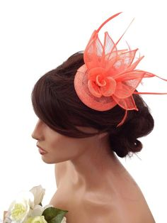 Elegant Coral Rose Design Hair Clip Grip Fascinator Hat with Feathers Races