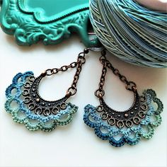 Handmade Lace Chandelier Earrings Boho Dangle Filigree Lace in Sea Turquoise Colors and Copper Unique jewelry gift for women $35 #BeachSummerEarrings #TurquoiseCopperEarrings #UniqueBohoJewelry #RusticVintageJewelry www.LacyTreasures.Etsy.com