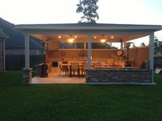 Outdoor brick covered patio on Bayou Mead Trail, Humble, Texas. Backyard Studio, Backyard Patio Designs, Backyard Pergola, Patio Roof, Pergola Designs, Pergola Kits, Gazebo Ideas, Pergola Roof, Outdoor Kitchen Patio