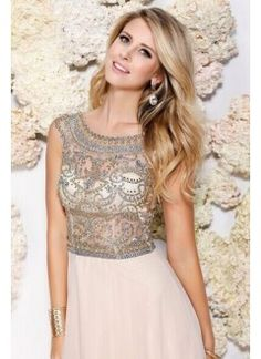 2015 Sexy Scoop A-Line Floor-Length Prom Dresses Beaded Tulle Bodice Chiffon