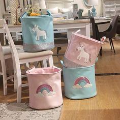 Buy Fabric Rainbow Unicorn Printed Pink Basket for Toys Clothes Organizer Folding Laundry Basket Storage Basket at Home - Design & Decor Shopping Folding Laundry Basket, Laundry Basket Storage, Baby Toy Storage, Storage Buckets, Nursery Storage, Bag Storage, Laundry Box, Laundry Organizer, Cheap Storage