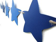 Star Paper Banner Blue Party Wall Decoration Nursery by LoveStar1.etsy.com