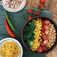 Tuna and chickpea salad - one of the favourites of the season. Mix together a can of chickpea, 150 gr of canned tuna, cherry tomatoes, canned corn and 2 green onions in a large bowl. Add olive oil, lemon juice and season with pepper and extra salt if desired. . . . . #kuttrecipe #kuttstore #snackideas #saladbowl #salad #tunasalad #chickpeasalad  #healthyfood  #healthyrecipes #cleaneating #foodphotography #veganrecipes Canned Corn, Chickpea Salad, Tuna Salad, Large Bowl, Green Onions, Salad Bowls, Cherry Tomatoes, Olive Oil, Food Photography