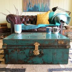 Vintage / Industrial metal chest upcycled in the style of a coffee table . Vintage / Industrial metal chest upcycled in the style of a coffee table . Trunk Redo, Trunk Makeover, Furniture Makeover, Old Trunks, Vintage Trunks, Trunks And Chests, Refurbished Furniture, Vintage Furniture, Metal Chest