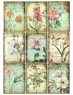 FLoRaL 9 atc aged stained backgrounds antique pink roses butterfly postcards vintage paper original digital collage sheet altered art hang tags handmade greeting card making supplies hang tags books journals scrapbooking sh33