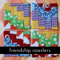 tutorials: sewing for the home    imagine gnats patchwork coasters