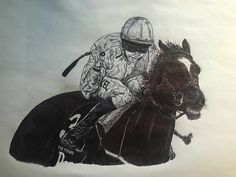 """""""Mi piace"""": 41, commenti: 1 - Jack (@thefugue) su Instagram: """"The Fugue - Drawn with black biro 🖊🏇🏻 My favourite horse. The Fugue won four Group 1 races during a…"""""""