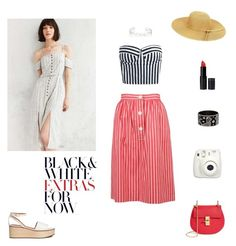 """""""Stripes in red, black, white"""" by ila-rose ❤ liked on Polyvore featuring Yves Saint Laurent, Chloé, Cooperative, Fujifilm, New Look and Repossi"""