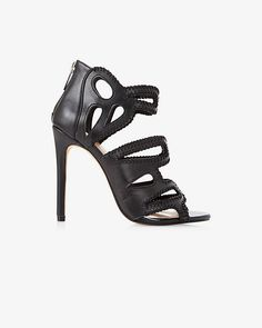 This high heeled sandal is a luxurious complement to any outfit. Dramatic whipstitch details and open toe lets your sexy legs assume the spotlight.
