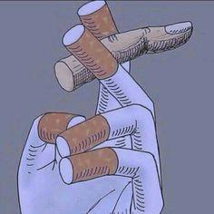 Essa imagem faz uma alusão ao poder que o cigarro tem sobre nós devido ao vício