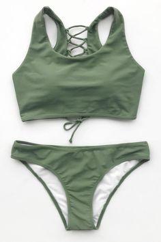 fecf030b8452c Cupshe Matcha Mousse Solid Bikini Set Back Lace Up Swimsuit Padded Bathing  Suit Swimwear Bathing Suit Brazilian Biquini