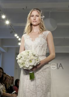 "THEIA Spring 2015 ""Isabella"" Illusion lace gown with embroidered tulle overskirt with crystal belt"