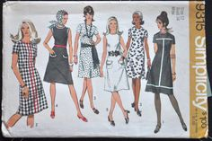 Simplicity 9315  Cool Mod 1960s Dresses in 5 Styles  by Clutterina