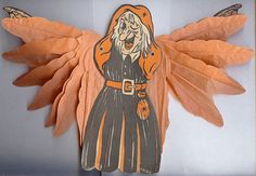 "Halloween decoration ""Winged Witch"" – Made in USA 1950s"