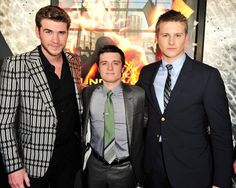 Liam Hemsworth, Josh Hutcherson, and Alexander Ludwig at the Canadian Premiere of The Hunger Games at Scotiabank Theatre today.