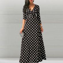 5d3629b471c Для женщин длинные платья Винтаж элегантные пикантные Клубные Алина Высокая  талия в горошек с принтом женская мода вечерние женские Макси ...(China)