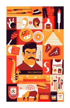 Ron Swanson print by Ricky Linn Leslie Knope, Parks And Recreation, Parks N Rec, Tammy Parks And Rec, Art Design, The Funny, Sandwiches, Ron Swanson, Tv Episodes