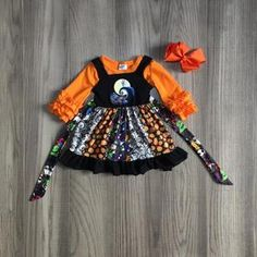 children girls clothes girls fall outfits HALLOWEEN twirl dress with girls long sleeve tee pumpkin dress Girls Christmas Dresses, Dresses Kids Girl, Tutus For Girls, Kids Outfits Girls, Girl Outfits, Kids Witch Costume, Childrens Halloween Costumes, Girl Costumes, Baby Halloween Outfits