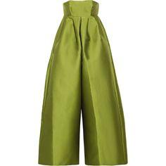 Merchant Archive Strapless duchesse-satin jumpsuit ($2,060) ❤ liked on Polyvore featuring jumpsuits, leaf green, jump suit, green jumpsuit, flared jumpsuit and wide leg jumpsuit