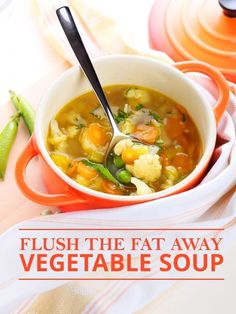 Flush the Fat Away Vegetable Soup - tina second - Flush the Fat Away Vegetable Soup Included in this recipe, are superfoods that are packed with antioxidants and aid with flushing toxins and subsequently, fat from the body. Detox Recipes, Soup Recipes, Vegetarian Recipes, Dinner Recipes, Cooking Recipes, Healthy Recipes, Fat Flush Soup, Fat Burning Soup, Cabbage Soup Diet