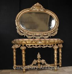 Louis XVI Painted Console Table and Mirror Set Rococo Furniture Oval Mirror, Mirror Set, Louis Xvi, Rococo Furniture, Carving Designs, Antique Market, Light And Space, Classic Furniture, Console Table