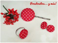 Red Dots Set. Polka dot. Handmade