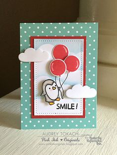 card with critters - penguin balloons #balloon - cloud - Smile! with Audrey | Butterfly Reflections, Ink.