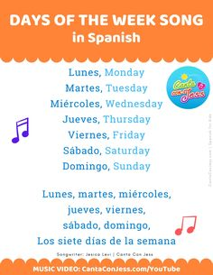 Days of the Week SONG in Spanish - LYRICS