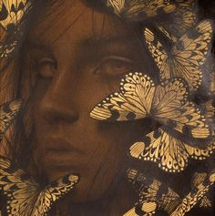 Alessandra Maria, Reverie V - Contemporary Drawing with Gold Leaf, 2019 Graphite Drawings, Drawing Sketches, Art Drawings, Paintings I Love, Beautiful Paintings, Butterfly Body Parts, Gold Drawing, Leaf Illustration, Aesthetic Painting