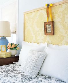 frame wallpap, interior design, cork, elle decor, wallpap headboard, bedroom headboards, decorating ideas, a frame, diy headboards