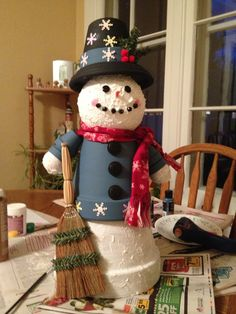 Snowman body made from 2 clay pots,Styrofoam balls for head and hands. Arms are each made with 2 tiny pots - 4 total. Hat is a pot and saucer.