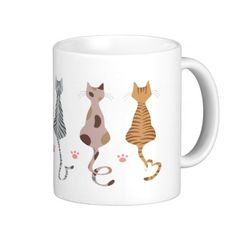 Cats Love Tails Mug! A mug featuring a series of illustrated cats of different colors.  For more visit Kazashi's @ http://www.zazzle.com/kazashiya?rf=238308729910790362