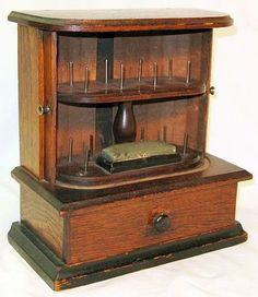 Victorian Walnut Sewing Spool Cabinet with Tambour Doors & Drawer.