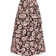 KENZO Printed silk crepe de chine midi skirt ($378) ❤ liked on Polyvore featuring skirts, pink, floral knee length skirt, floral skirt, pink skirt, pink floral skirt and floral print skirt