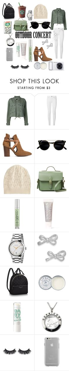 """I really like to go to concerts last minute"" by mintmila ❤ liked on Polyvore featuring Faith Connexion, Burberry, H London, Brora, The Cambridge Satchel Company, Urban Decay, FCTRY, Gucci, Kate Spade and Samsung"