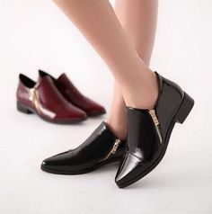 Chic Womens Vintage Oxfords Zip Flat Office Pointed Toe Ankle Boot Leisure Shoes