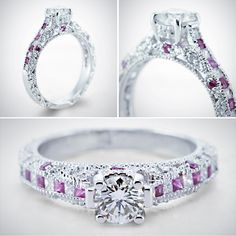Milgrain Queens Crown Ring || Round Cut Diamond Milgrain Rings With Pink Sapphire In 14K White Gold