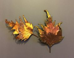 2 Copper Dipped Real Leaves for Jewelry Fall by LaughingDogStudio