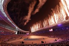 Fireworks light up the opening ceremony of the 17th Asian Games in Incheon. Photo by Dita Alangkara.