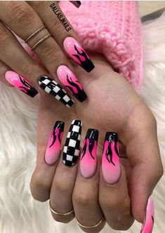 51 Stylish Fire Nail Art Design Ideas You Must Try – nageldesign. Summer Acrylic Nails, Best Acrylic Nails, Acrylic Nail Designs, Acrylic Nail Salon, Summer Nails, Aycrlic Nails, Swag Nails, Nail Nail, Grunge Nails
